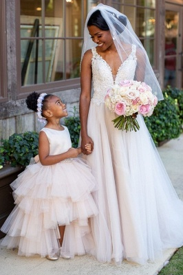 Elegant Jewel Sleeveless Belted Satin Tulle Flower Girl Dresses_1