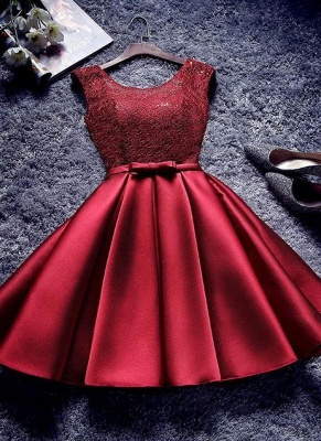 Bowknot-Sash A-line Lace-Up-Back Red Homecoming Dresses_2