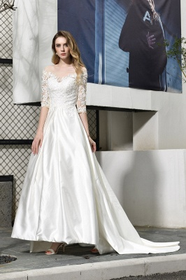 Glamorous 3/4 Sleeves Floor Length Length A-Line Lace Wedding Dresses_4