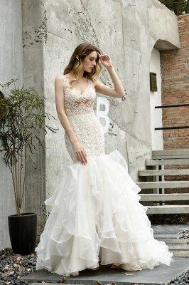 Tulle Lace Sleeveless Sexy Mermaid Wedding Dress_8