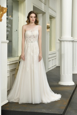 One Shoulder Tulle Sexy A-Line Lace Wedding Dress_10