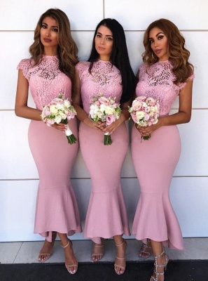 Tea Length Lace Mermaid Bridesmaid Dresses  | Affordable Maid of Honor Dresses_1