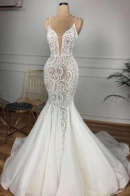 Spaghetti Straps  V-neck Mermaid Lace Sexy Wedding Dresses | Fit and Flare Bridal Gowns