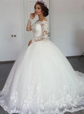 Bateau Long Sleeve Off The Shoulder Lace Applique Ball Gown Wedding Dresses | Beading Bridal Gown