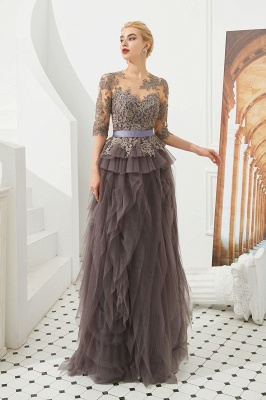 Elegant Jewel Half Sleeves Ribbon Belt A-line Lace Tulle Prom Dresses