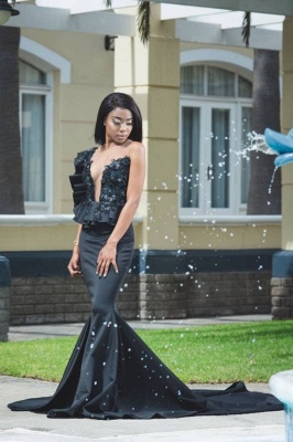 Stylish Jewel Sleeveless Appliques Mermaid Prom Dresses | Sexy Long Evening Dresses_1
