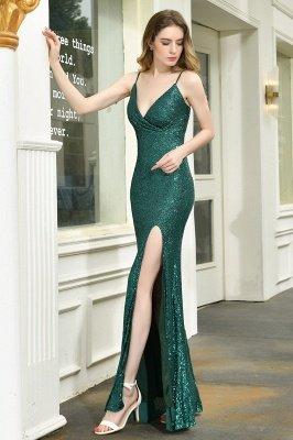 Black Spaghetti Strap V Neck Sequined Front Slit Floor Length Sheath Prom Dresses | Backless Evening Gown_8