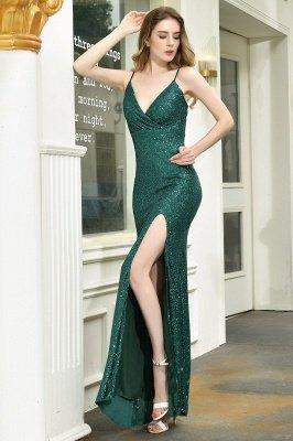 Black Spaghetti Strap V Neck Sequined Front Slit Floor Length Sheath Prom Dresses | Backless Evening Gown_13