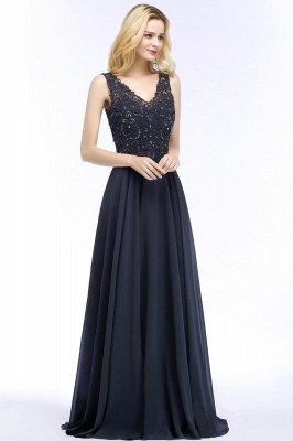 Straps V Neck  Applique Crystal Sequin Floor Length A Line Prom Dresses_52