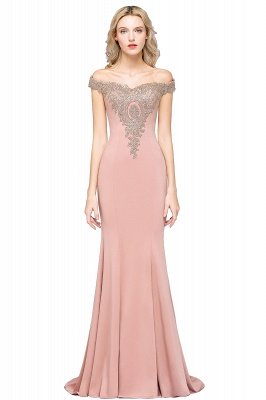 Simple Off the Shoulder Appliques Fitted Floor Length Evening Gown_3