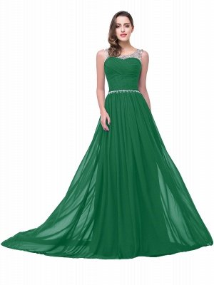 Cheap A-line Court Train Chiffon Party Dress With Beading in Stock_6