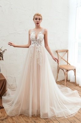 Round Neckline Sleeveless A-line Lace Up Sweep Train Lace Appliques Wedding Dresses_9