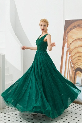 Gorgeous Straps V-neck A-line Long Prom Dresses | Jade Floor Length Evening Dresses_7