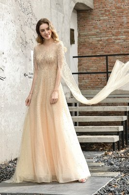 Georgeous Bateau Beading Crystal Prom Dresses | Floor Length A Line Evening Gown_9