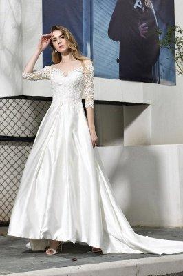 Glamorous 3/4 Sleeves Floor Length Length A-Line Lace Wedding Dresses_7