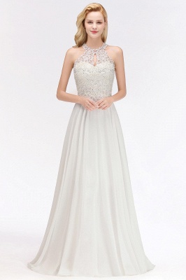Halter Full Back Applique Beaded Pearls Chiffon A Line Prom Dresses