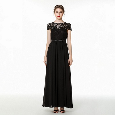 Jewel Short Sleeves Belted Floor Length Lace Chiffon Prom Dresses