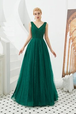 Gorgeous Straps V-neck A-line Long Prom Dresses | Jade Floor Length Evening Dresses_13