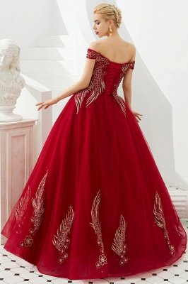 Glamorous Off the Shoulder Sweetheart Applique A-line Floor Length Prom Dresses_5