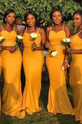 Spaghetti Straps Long Sexy Fitted Bridesmaid Dresses | Elegant Wedding Guest Dresses_1