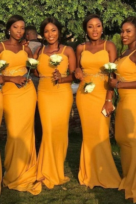 Spaghetti Straps Long Sexy Fitted Bridesmaid Dresses | Elegant Wedding Guest Dresses_2