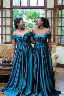 Long Off the Shoulder Satin Sexy Bridesmaid Dresses | Elegant Wedding Guest Dresses_3