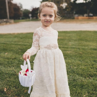 Lovely Jewel Long Beaded Lace Flower Girl Dresses with Long Sleeves_5