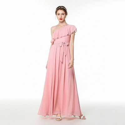 One Shoulder Belted Floor Length Chiffon Prom Dresses | Long Cheap Evening Dresses Online_3