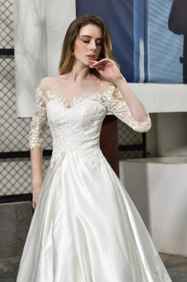 Glamorous 3/4 Sleeves Floor Length Length A-Line Lace Wedding Dresses_10
