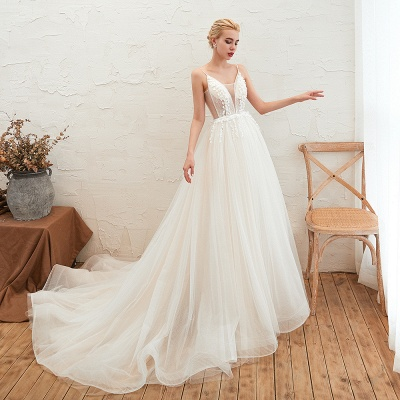 Elegant Spaghetti Straps Lace Up A-line Floor Length Lace Tulle Wedding Dresses_11