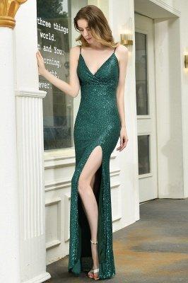 Black Spaghetti Strap V Neck Sequined Front Slit Floor Length Sheath Prom Dresses | Backless Evening Gown_19