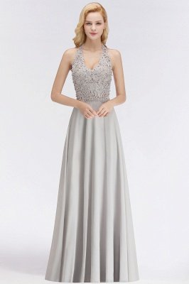 Elegant Halter A-line Appliques Chiffon Long Bridesmaid Dresses | Simple Wedding Guest Dresses_6