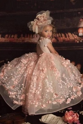 Jewel Short Sleeves Open Back Princess Flower Girl Dresses with Handmade Flowers_2