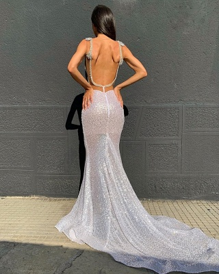 Deep V-neck Sparkling Sequined Sexy Prom Dresses | Stunning Backless Mermaid Evening Dresses_2