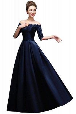 ELLISON | A-line Half Sleeve Floor-length Off-shoulder Appliques Prom Dresses_3
