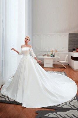 Gorgeous Off the Shoulder Half Sleeves Floor Length A-line Satin Wedding Dresses_2