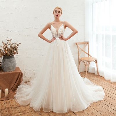 Elegant Spaghetti Straps Lace Up A-line Floor Length Lace Tulle Wedding Dresses_6