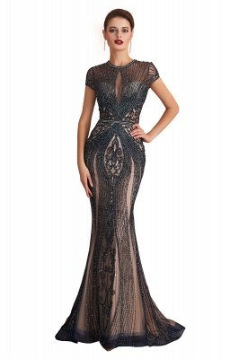 Cap Sleeves Keyhole Jewel Gorgeous Beaded Long Prom Dresses | Elegant Long Evening Dresses_1