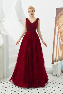 Gorgeous Straps V-neck A-line Long Prom Dresses | Jade Floor Length Evening Dresses_1