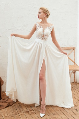 Jewel Cap Sleeves Sheer Sweep Train A-line Appliques Chiffon Wedding Dresses_4