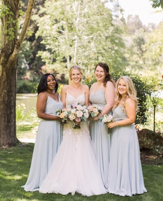 Plain Dusty Blue Spaghetti Straps V-neck Chiffon Long Bridesmaid Dresses_2