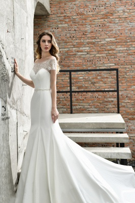 Gorgeous Off the Shoulder Affordable Ivory Mermaid Lace Wedding Dresses_7