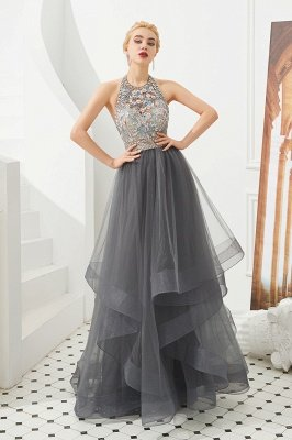 Stylish Floor Length Halter Beaded Tiered Blackless Tulle Prom Dresses_2