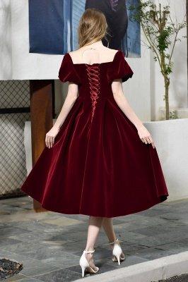 Burgundy Flare Sleeve Deep V Neck Tea Length A Line Prom Dresses | Ruffles Evening Dresses_12