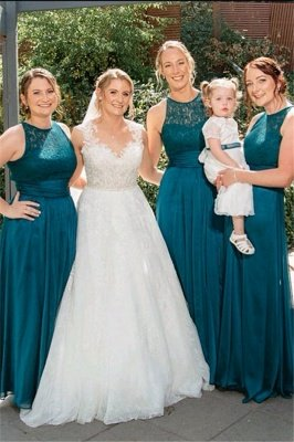 Jade Sleeveless Long Sexy Lace Bridesmaid Dresses | Simple Maid of Honor Dresses_1