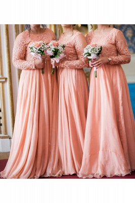 Jewel Long Sleeves Floor Length Sexy Lace Chiffon Bridesmaid Dresses_2