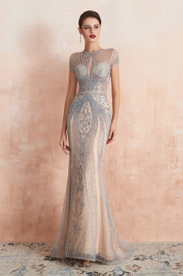 Cap Sleeves Keyhole Jewel Gorgeous Beaded Long Prom Dresses | Elegant Long Evening Dresses_4