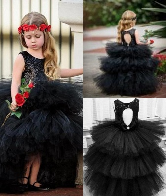 Jewel Sleeveless Hi-Lo Open Back Sequins Tulle Ball Gown Flower Girl Dresses_2