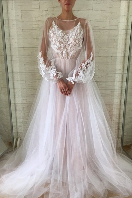 Jewel See Through Tulle Appliques Lace Prom Dresses | Long Evening Dresses with Sleeves