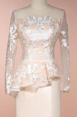 Elegant Jewel Floor Length Long Sleeves Peplum Champagne Prom Dresses_5